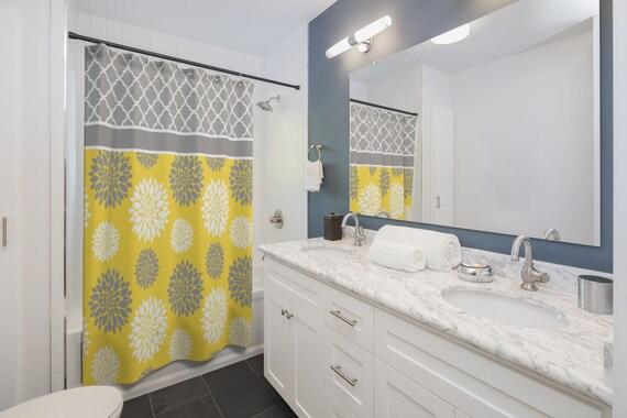 Douche gris jaune rideau gris jaune floral douche rideau salle de