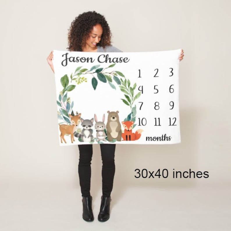 Camoflauge Mliestone Blanket Army Camo Military Monthly Growth Tracker Personalized Name Baby Shower Gift Bedding Nursery Decor B280