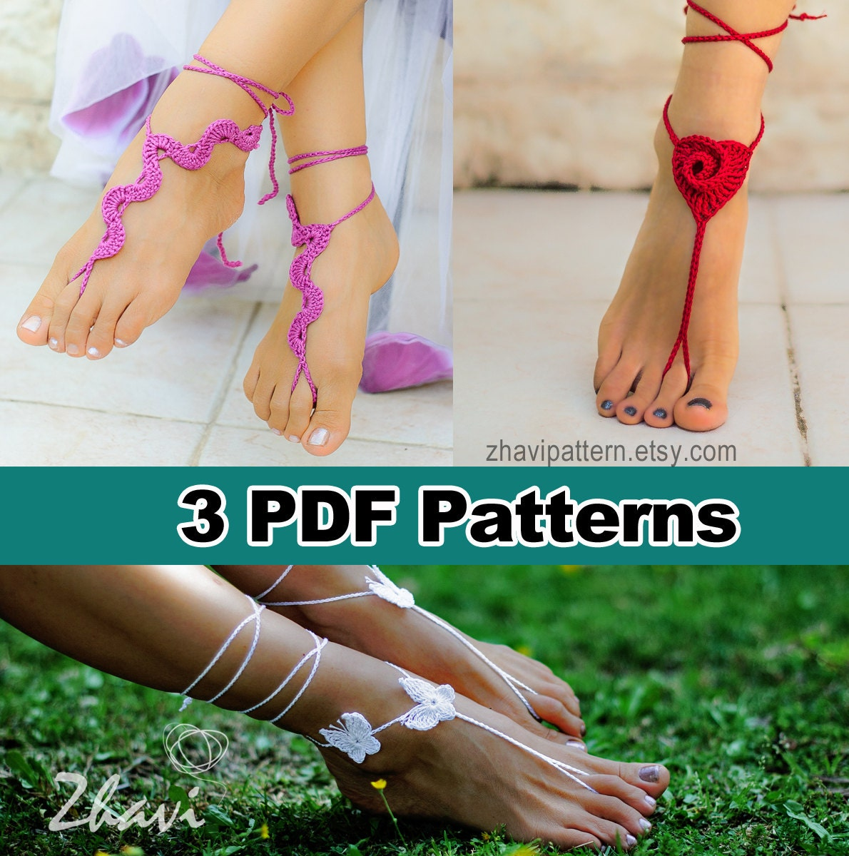 Sale Three Crochet Patterns Snake Barefoot Sandals 5 Red Etsy