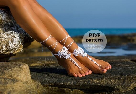 CROCHET PDF PATTERN white three leaves barefoot sandals