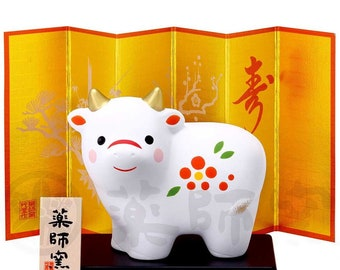 Japanese Zodiac Cow Ceramic 2021 New Year of Ox Ornament Lucky Charm Home decor