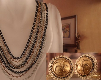 Mid Century Amerique Multi Tone Layered Necklace and Clip Earrings