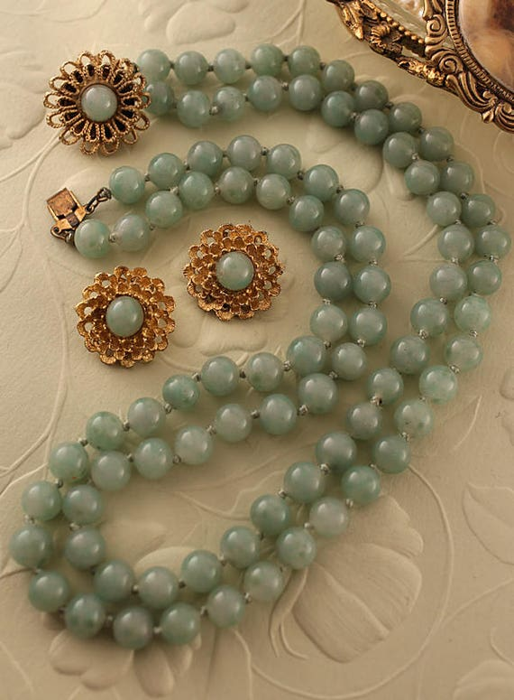 Glass Pearl Jewelry Set Big Bead Statement Necklace Brown Pearl Necklace /& Earrings Multi-color Glass Pearl Necklace