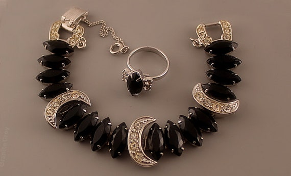 Sarah Coventry VIENNA NIGHTS Bracelet & Jet Navett