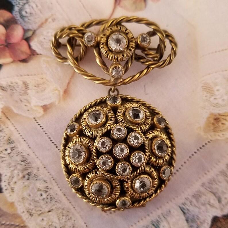 Sandor Locket Brooch Ornate Antiqued Gold Tone