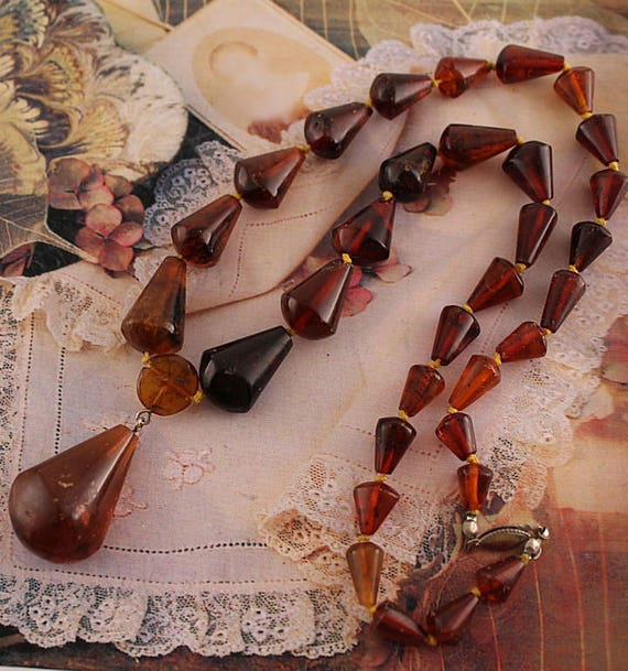 Amber Tear Drop Beaded Necklace Antique