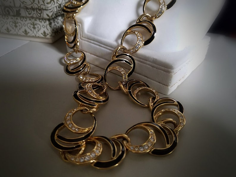 Trifari TM Black and Gold Crescent Moons Link Necklace