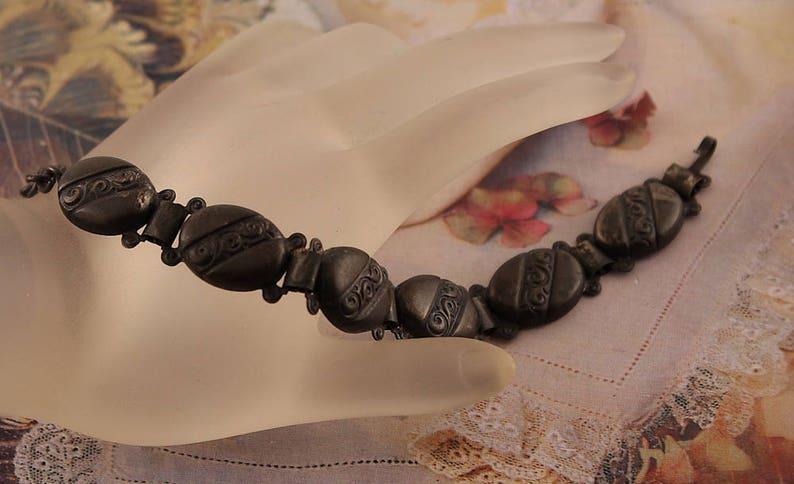 Gun Metal Jewelry Pot Metal VICTORIAN LINK BRACELET