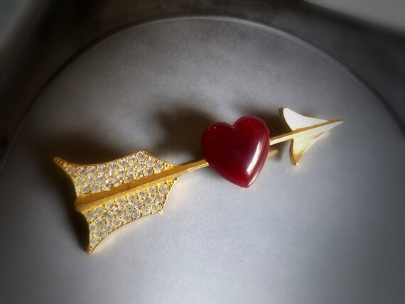 Karl Lagerfield Cupid Arrow Puff Heart Pin Brooch