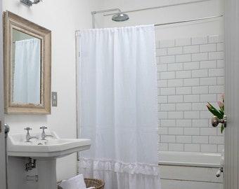 White Linen Shower Curtain