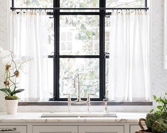 Linen Cafe Curtains, Sheer Linen Curtains, Custom Made - Rod Pocket or Pinch Pleat. PAIR.