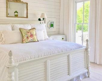 White Linen Coverlet / Linen Bedspread / Finest French Linen / White Linen Farmhouse