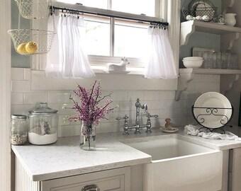 Shabby chic kitchen curtains | Etsy