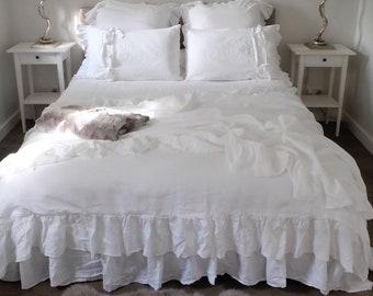 White Linen Duvet Cover / Ruffled Duvet Cover / Shabby Chic Bedding