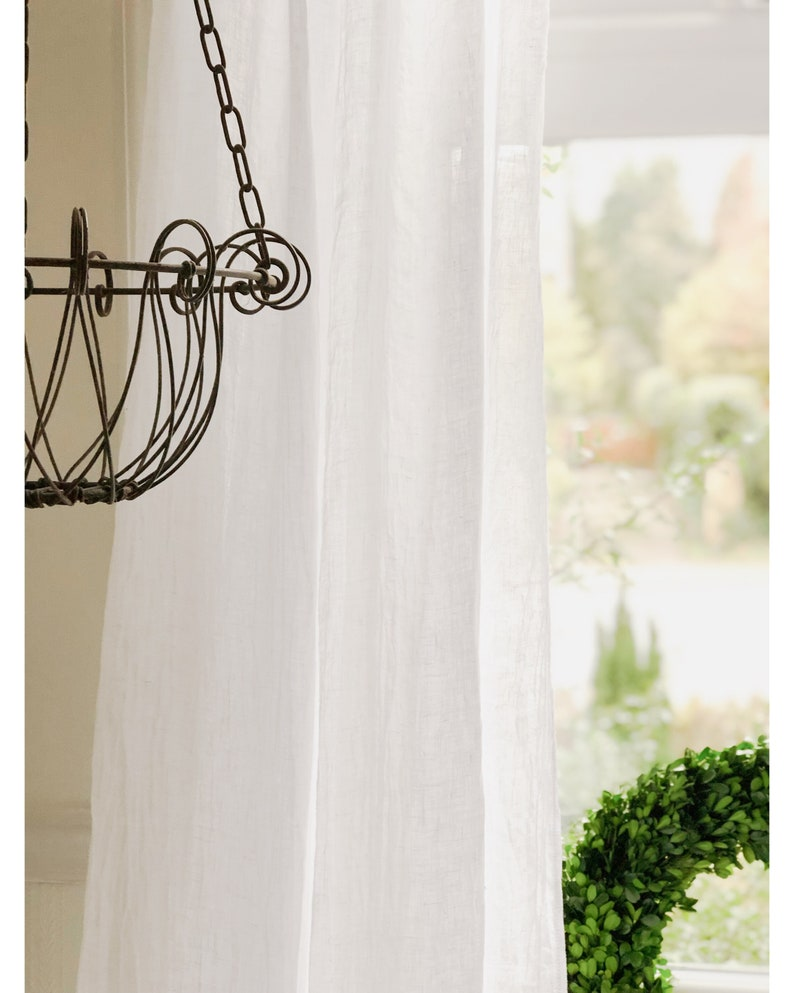 Shabby Chic Curtains Linen Curtain Panels Boho Curtains with Pom Pom trim