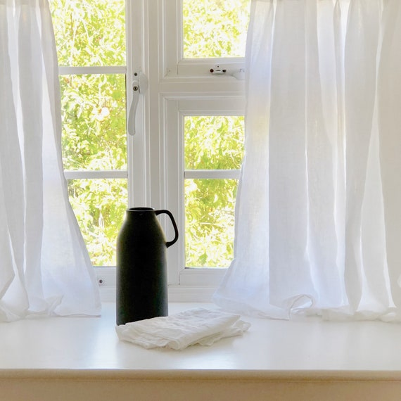 White Linen Cafe Curtains, Kitchen Curtains, Farmhouse Cafe Curtains. Pinch  Pleat or Rod Pocket Top.