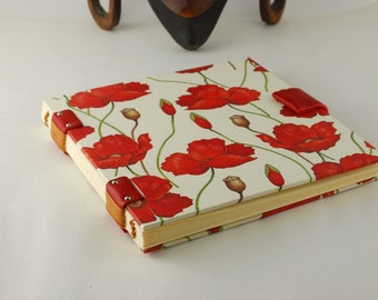 Travel journal, diary, book of poetry, Coptic binding, 96 pages ivory leaves, notebook, pregnancy book