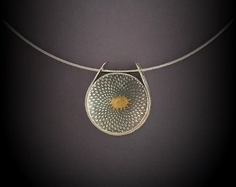Spiral Necklace Slide, Fine silver with fused gold on 18 inch Sterling Silver Omega Chain