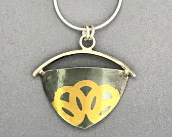 Fused 24K Gold and Oxidized Silver Necklace, Handforged Mixed Metal Art
