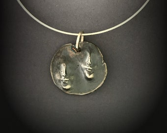 Ancient Artifact Medallion, Two Faces on a Sterling Silver Necklace, Alternative Art Gallery Pendant