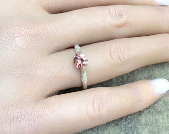 Natural Red Pink Zircon Solitaire Sterling Silver Ring, Petite Pink Engagement  Ring, Floral Band Size 7