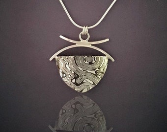 Mixed Metal Mokume Gane Silver Necklace, Handforged Shield Design, Snake Chain