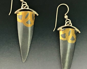 Fused Gold Artistic Unique Silver Dangle Earrings with Fun Floral Design