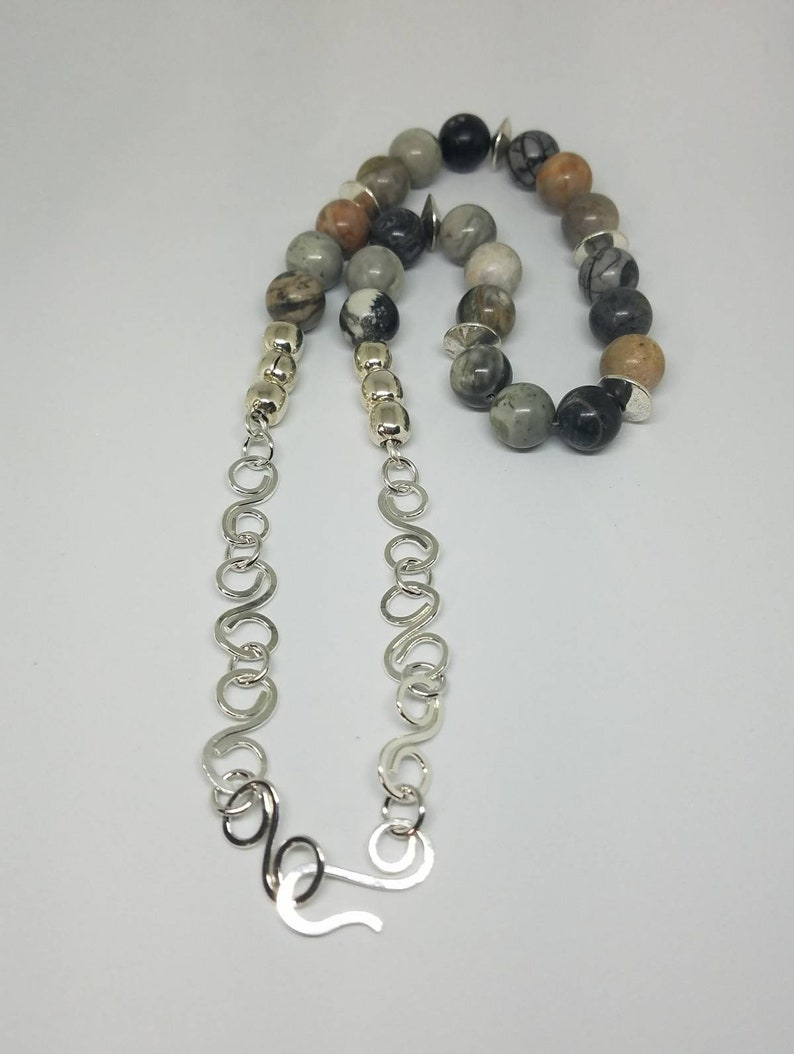 Picasso Jasper Necklace with Handmade Sterling Silver Celtic Inspired Chain