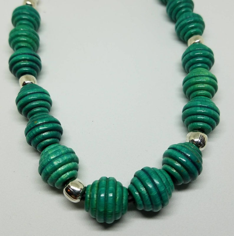 Turquoise is for Summer.... Retro Look Handmade Wooden Beehive Beads with Handcrafted Silver Links