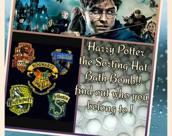Harry Potter the Sorting Hat Bath Bomb -  find out which house is your's ! Ultra Lush You Choose your scent !essential oil 4 colors 4 houses