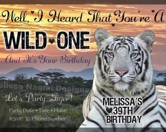 White Tiger Party Invitation, Tiger Birthday Invitation, Safari Party Invitation, Jungle Cat, Bengal Tiger, DIGITAL FILE, Original Design