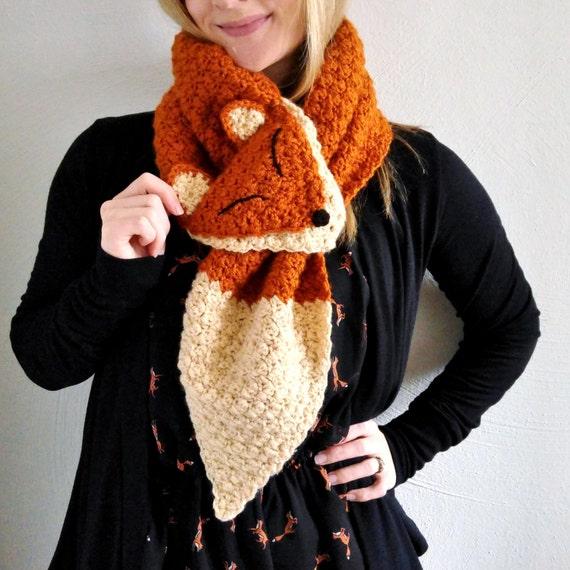 Fox Scarf The Happiest Fox Scarf Crochet Fox Scarf Etsy