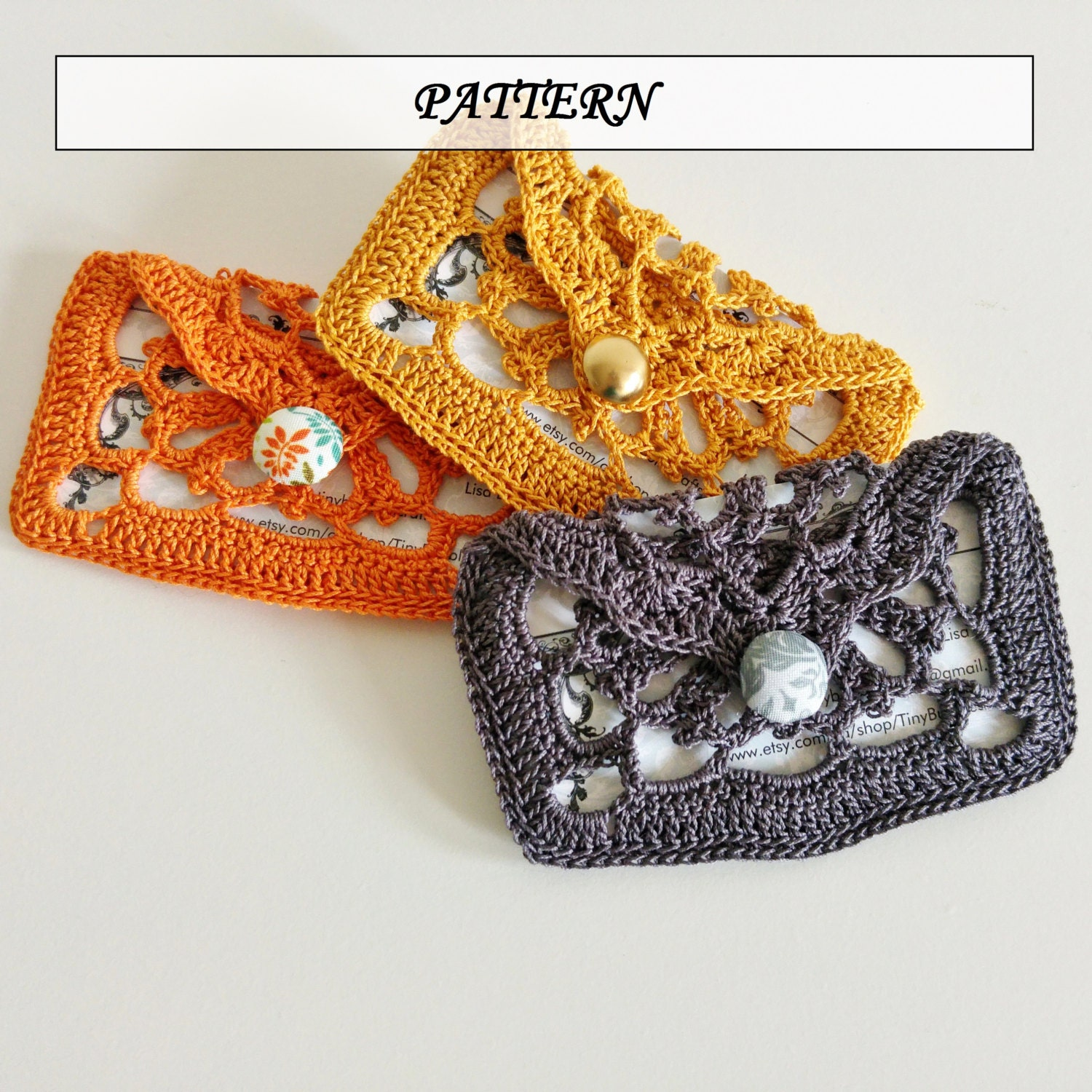 Crochet Pattern Lace Card Holder | Crochet Pattern | Crochet Pouch ...