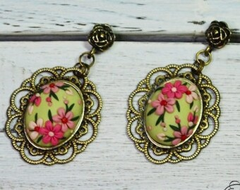 Green dangle earrings floral earrings spring jewelry drop earrings pink flower earrings applique embroidery earrings birthday gift for her