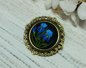 Blue Iris women brooch Iris brooch floral brooch women birthday gifts for mom gift girls mothers day gift feminine brooch floral jewelry