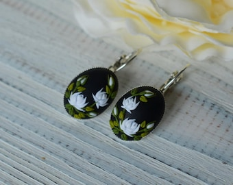 White roses earrings drop earrings floral polymerclay earrings birthday gift for her white & black earrings embroidery roses floral jewelry