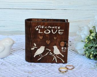 Wood personalized ring box Wedding ring box Jewelry box Ring book box Engagement box Proposal box bird Bearer ring box Wedding ring holder