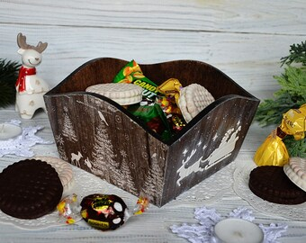 Christmas box wooden sweets box decoupage rustic box kitchen decor biscuit box wooden storage box christmas gift for boyfriend gift for her