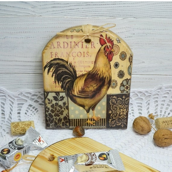 Rooster decor brown wooden cheeseboard kitchen serving board decoupage  board rooster board wooden plate kitchen board housewarming gift