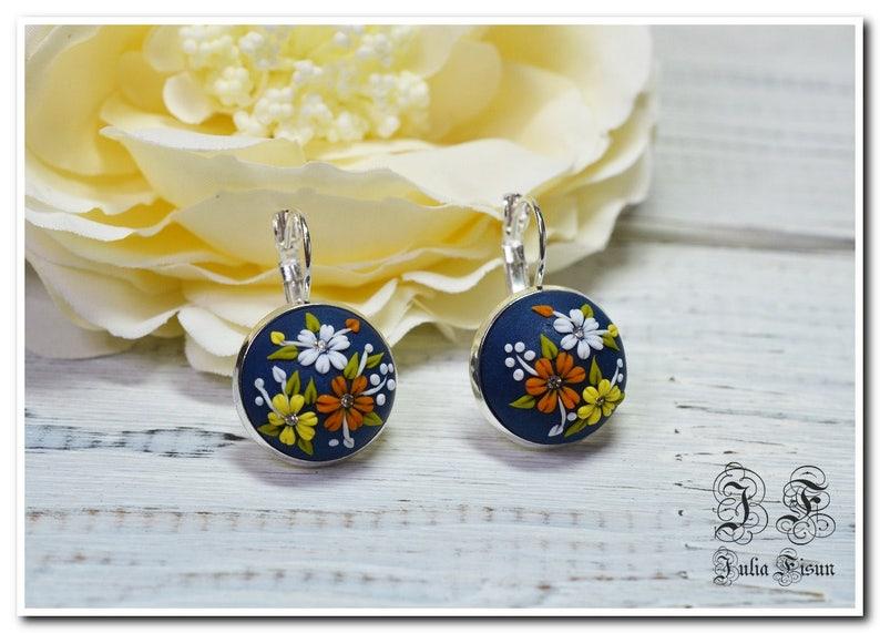 Dark blue floral earrings floral dangle earrings drop earrings flower earrings applique casual earrings gift for her earrings for girls gift