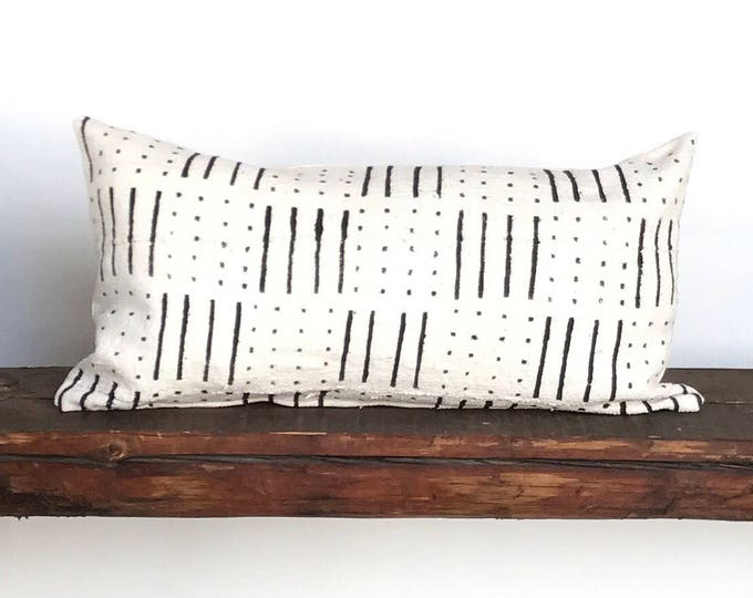 Boho African black and white mudcloth lumbar pillow cover