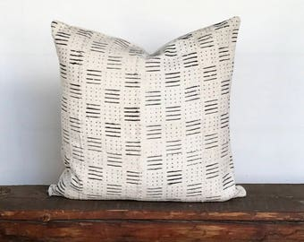 Mudcloth textile black cream stripe boho pillow cover