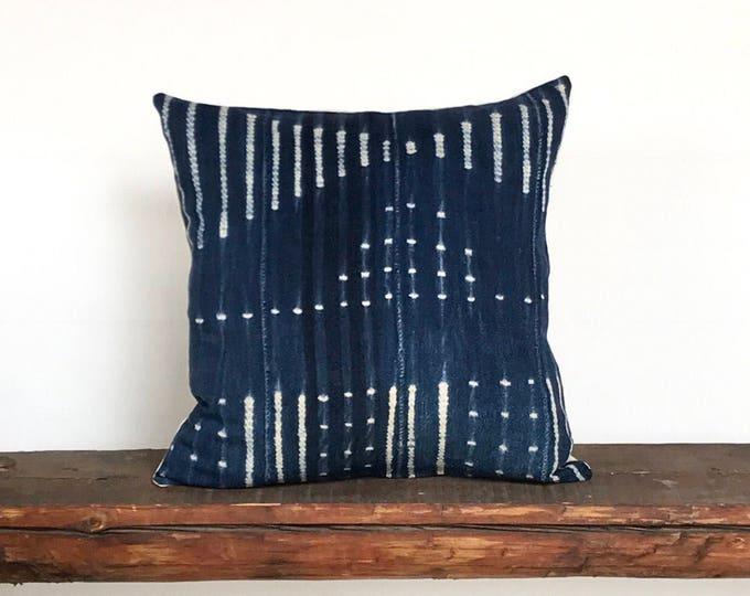 Vintage African indigo mud cloth textile stripe boho pillow cover