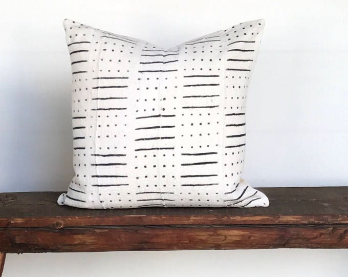 African mud cloth  black white cream stripe boho pillow cover