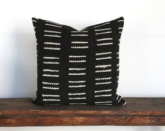 African mud cloth black cream boho pillow cover