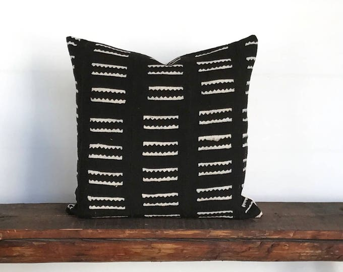 African mud cloth black cream boho pillow cover