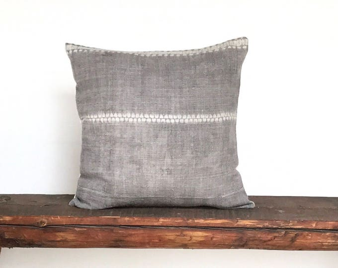 Vintage Hill Tribe Gray Cream Stripe Hemp Textile Boho Pillow Cover