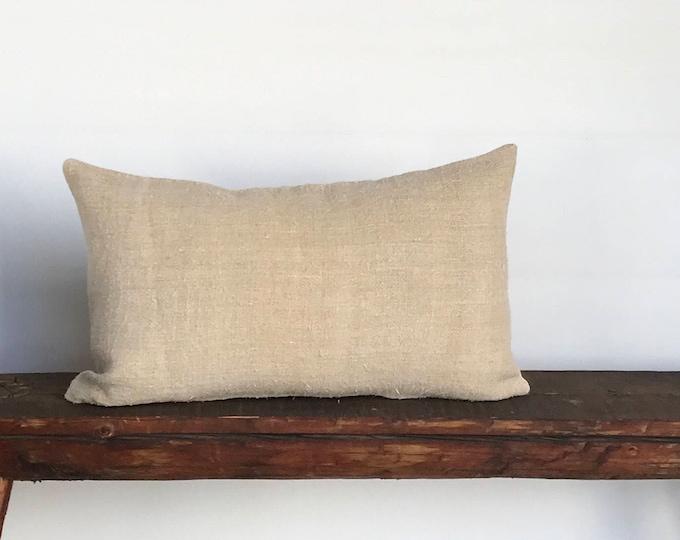Grain sack vintage European  lumbar boho pillow cover