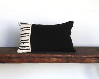 African black white mudcloth lumbar boho pillow cover