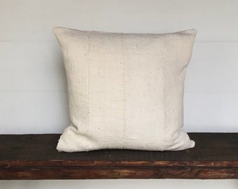 Vintage Mali West African Mudcloth Textile Solid White Cream Boho Pillow Cover